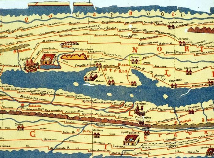 Mapa antigo das vias de roma