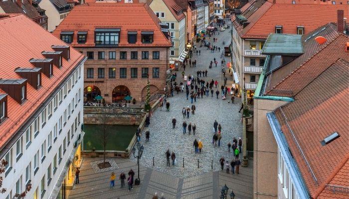 Ruas da cidade Nuremberga Cidade na Alemanha
