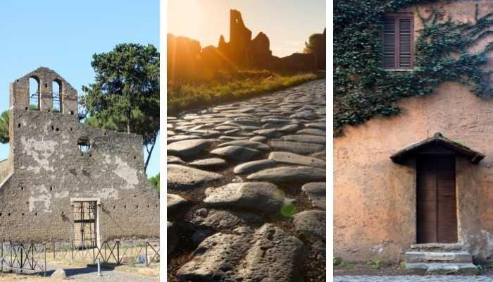 Conjunto de imagens motrando ruinas da Via Apia